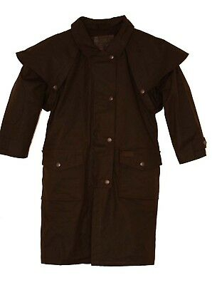 (Medium, Brown) - Outback Trading Co Boys' Co. Cotton Oilskin Duster - 2602
