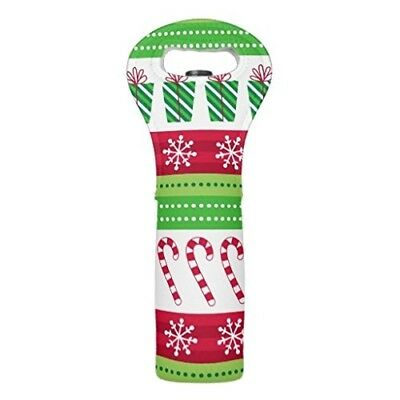 (Single Wine Tote) - Funny Insulated Wine Tote 1 Bottle Holiday Treats