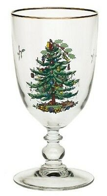 Spode Christmas Tree 470ml Pedestal Goblets with Gold Rims, Set of 4