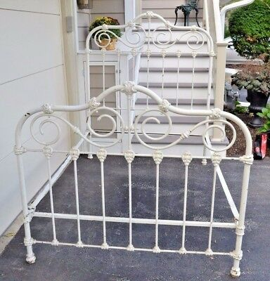Antique Victorian Ca 1880 Solid Brass Painted White Full Size Bed Original Rails