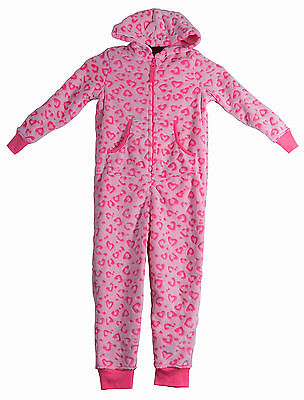 Girls Fleece All in One Hooded Pyjamas Pink Hearts Cosy Warm New Sizes 3-4 Years