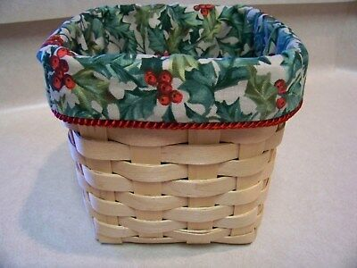Christmas Tall Tissue Basket Liner From Longaberger American Holly Fabric