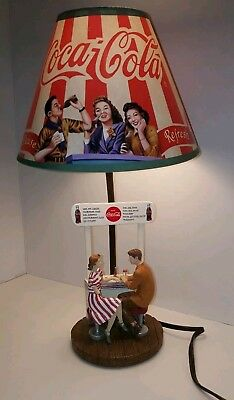 Vintage Coca-Cola Lamp & Shade Couple sitting at Food Stand.