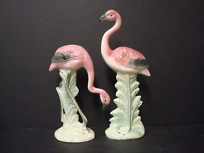 Vintage Mid-Century Pink Flamingos Figurines- 7 to 9.5 inches