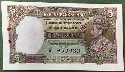 India 5 Rupees 1937 Sign Taylor P.18 Rare Uncirculated Scarce in this Condition