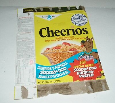 1979 Cheerios Cereal Box w/ Scooby Doo Birthday Poster offer Hanna Barbera