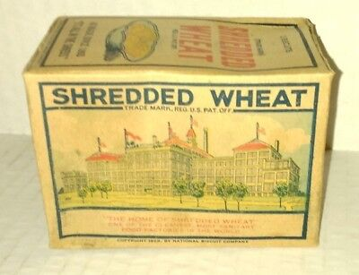 vtg 1929 SHREDDED WHEAT Cereal Individual Serving Box National Bisquit Company