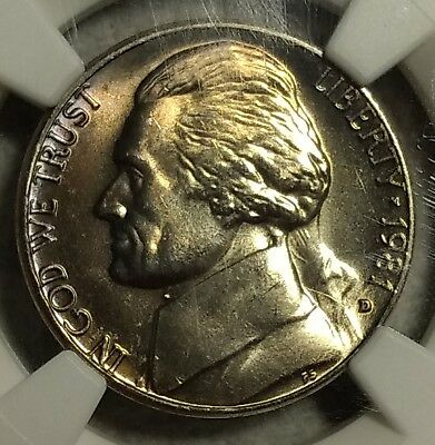 NGC MS-65 5FS 1981-D Nickel! Gorgeous violet, purple and gold toning!