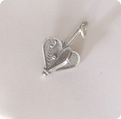 'Hearts' PENDANT Necklace Dreidel-style -- Silver 925 Filigree (Made in Israel)