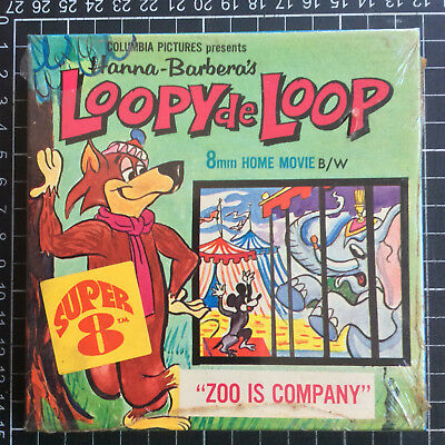 Super 8 film LOOPY DE LOOP Zoo is Company 200ft B&W Hanna-Barbera cartoon 8mm