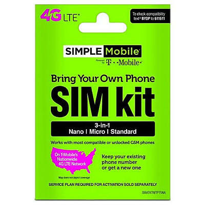 Simple Mobile 1st Month Preloaded 4G LTE SIM Card Kit