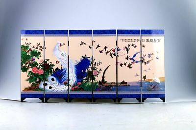 "Beautiful Chinese Lacquer Handwork Painting ""百鸟朝凰 Screen Scroll Nr"