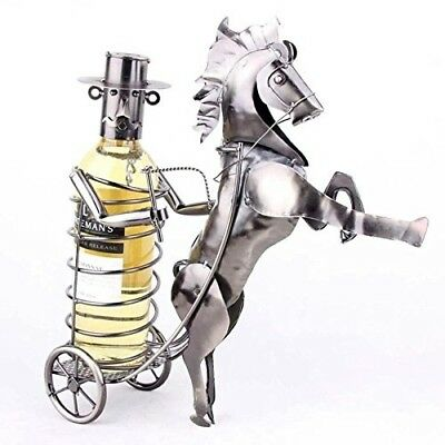 Lumanuby 1 Pcs Metal Horse Wine Rack Retro Carriage Style Ornaments For Home