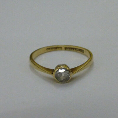 Engagement Vintage 18ct gold diamond solitaire ring natural big diamond 0.23ct
