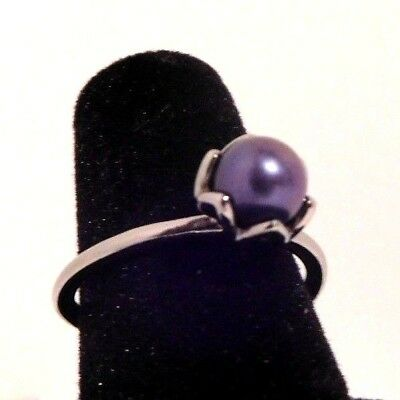 Authentic Pandora Cultured Elegance Blue Pearl Sterling Silver Ring 6 7 7.5 8.5