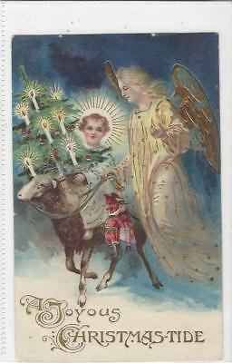 Animal Postcard -Court -Sheep in Nativity / Christmas with Angel