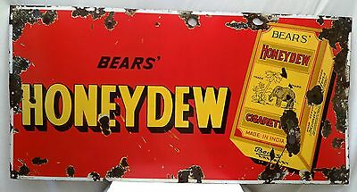 Vintage Honeydew Cigarettes Porcelain Enamel Sign Rare Bear's Brand Collectible