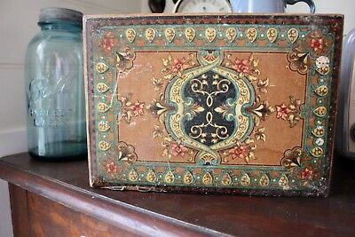 ANTIQUE VINTAGE ornate Patterned Wooden Sewing / Jewellery Box
