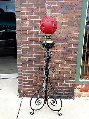 Victorian Antique Ornate iron heart metal work Piano oil floor Lamp with Shade