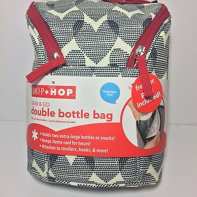 Skip Hop Grab-and-Go Insulated Double Bottle Bag Hearts Freezer Pack Baby Infant