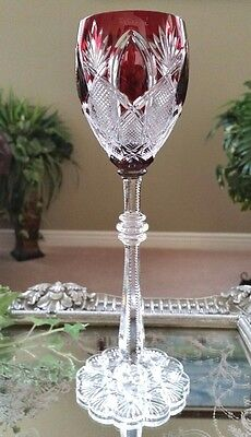 FABERGE Imperial CZAR Ruby Red Cased Cut to Clear Crystal Wine Goblet SIGNED