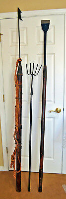 Vintage Whale Harpoon Maritime Whaling Toggle Spear Fishing 3 Piece Set Wall