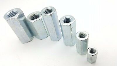 New M6-M16 Zinc Plated Stud Connectors Hex Threaded Bar Rod Decking.Long Nuts