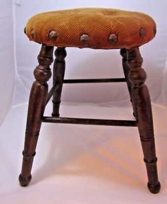 Antique Vintage Upholstered Wood Childs Doll 4 Leg Wooden STOOL w/ Nailhead Trim