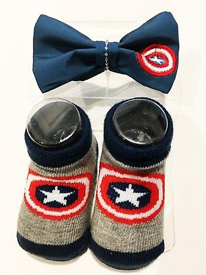 Marvel Comics CAPTAIN AMERICA BABY BOOTIES & BOWTIE  2-PACK Size 0-12M