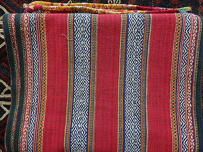 RARE Antique 19th.c Hand Woven Tai Hill Tribes Hmong Rug Throw Cotton