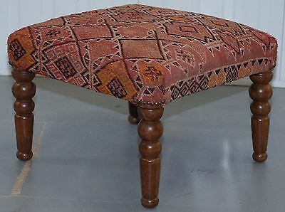 Vintage Kilim Upholstered Beech Wood Framed Footstool Lovely Size For Two!