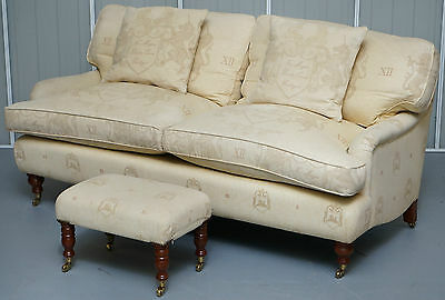 Rrp £2850 Andrew Martin Howard Style Sofa With Royal Magna Carta Upholstery