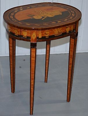 Exquisite Italianate Marquetry Inlaid Side Table With Drawers Absolute Finest