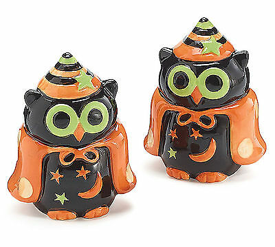 Halloween Owl Salt & Pepper Shakers Ceramic Wizard Witch Capes Hats