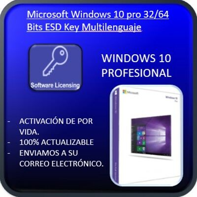 Windows 10 Pro 32/64 Bits Clave Licencia 100% Genuina WIN 10 (Leer descripcion)