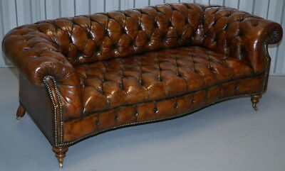 Stunning Restored Serpentine Whiskey Brown Leather Victorian Chesterfield Sofa