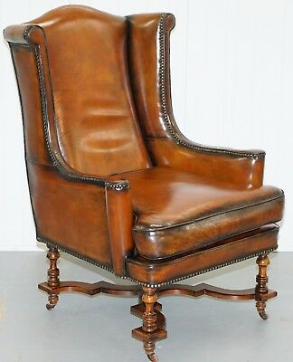 Rare 1690 Restored Walnut Framed Period William & Mary Wingback Leather Armchair