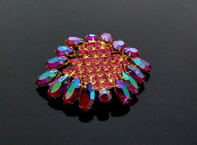 WOW ! 1960s Hollywood Cocktail Party Navette Strass Brosche Broche,Rosa und Pink