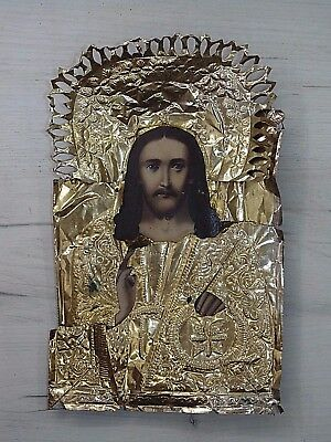 Antique 19th  Russian Hand Painted Wooden Icon of Jesus Christ