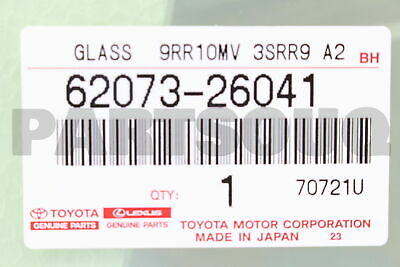 6207326041 Genuine Toyota WINDOW ASSY, SIDE, REAR RH 62073-26041