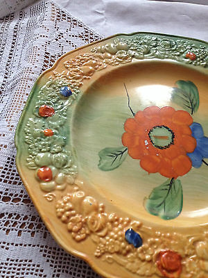 Vtg Crown Ducal Florentine Pottery Orange Green Plate With Embossed Decor