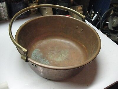 VINTAGE  COPPER  KETTLE  w/ BRASS  HANDLE  REINFORCED  WITH  STEEL RING