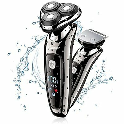 Mens Electric Shaver Razor Beard Trimmer Rotary Cordless Sideburn Wet/Dry 2 In 1