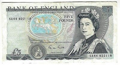 von Privat!  GRAND BRITAIN 5 Pounds Bank of England Duke of Wellington