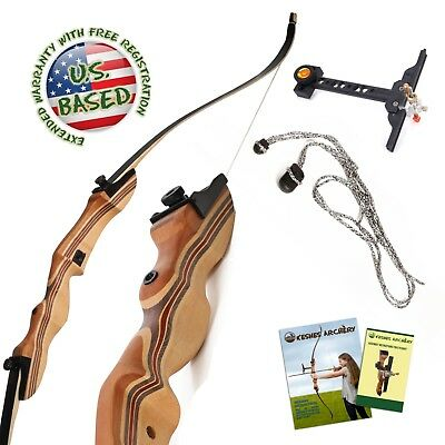 """Takedown Recurve Bow 62"""" Archery Hunting bow, 15-50LB. Draw weight, Right & Left"""