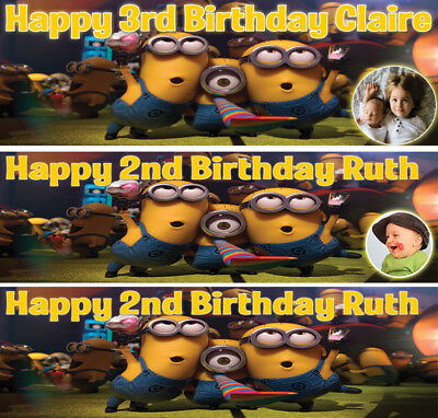 2 X MINIONS PERSONALISED BIRTHDAY BANNERS OPT4