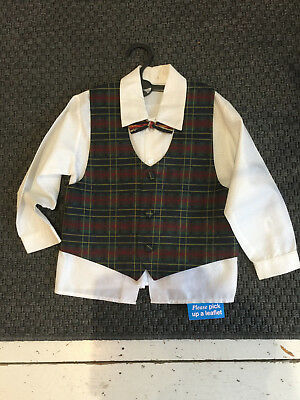 Vintage kitsch kids shirt tartan waistcoat dickie bow ensemble dress up retro