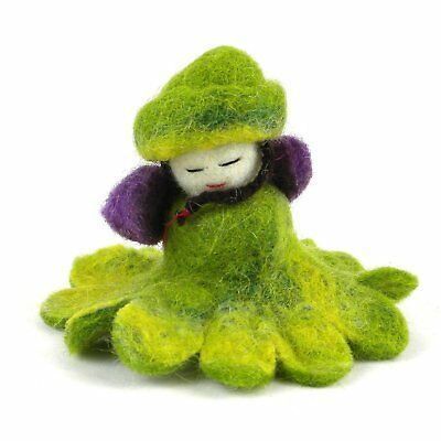 "Green Felt Flower Fairy Doll 3"" by Global Groove Handmade Fair Trade"