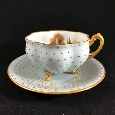Antique Jeweled Cup & Saucer Signed Andrews