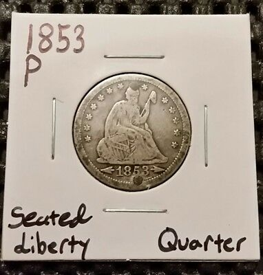 1853-P Seated Liberty Quarter! Rays & Arrows! 90% Silver! Holed! Free Shipping!